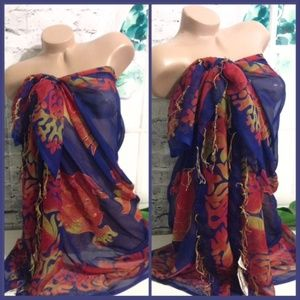 Blue & Gold Sarong Cover Up